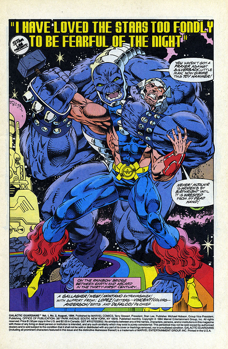 GALACTIC GUARDIANS #2 NM 1994 Gallagher West MARVEL COMICS *ShipFree w//$35 Order